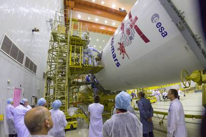 The ExoMars 2016 spacecraft and the Breeze-M upper stage are mated to the Proton rocket that will carry them into space on the first step of the journey to Mars.
