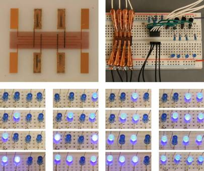 The material (top left) was printed and used to control a circuit of LEDs