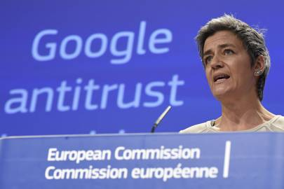 European competition commissioner Margrethe Vestager formally charged Google with abusing its dominant position as Europe's top search engine on April 15, 2015