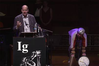 Thomas Twhaites (left) won an Ig Nobel for designing a suit that allowed him to live like a goat