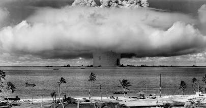 "The ""Baker"" explosion, part of Operation Crossroads, a nuclear weapon test by the United States military at Bikini Atoll, Micronesia, on 25 July 1946"