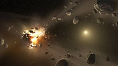 A concept image shows catastrophic collisions between asteroids located in the belt between Mars and Jupiter