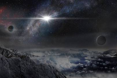 An artist's impression of the record-breakingly powerful, superluminous supernova ASASSN-15lh as it would appear from an exoplanet located about 10,000 light years away in the host galaxy of the supernova.