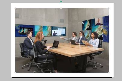 Mezzanine is a spatial operating environment for conference rooms. Using the controls, anyone can rearrange the data, push new data into the flow or highlight points shown on three screens.