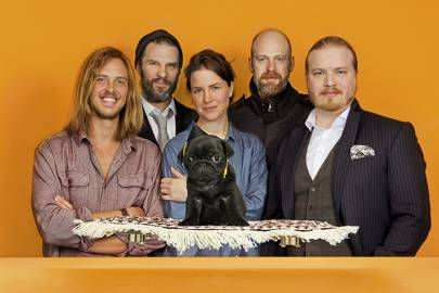 "Studio Total's team (l-r): Kalle Rolleri, Tomas Mazetti, Linda Karlsson, Per Cromwell and Karri Knuuttila. Daniel the pug is on the ""flying carpet"