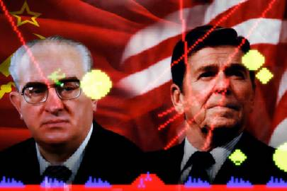 Yuri Andropov and Ronald Reagan contemplating the biggest game of Missile Command ever