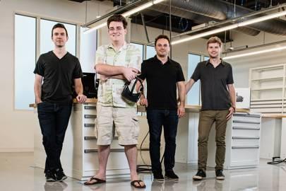 Nate Mitchell, Palmer Luckey, Brendan Iribe and Michael Antonov, founding members of American virtual reality technology company Oculus