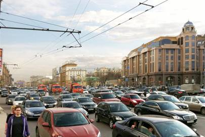The Garden Ring, the ring road that circles Moscow's old centre, as it regularly appears today