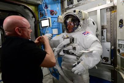 Tim Peake preparing for the spacewalk