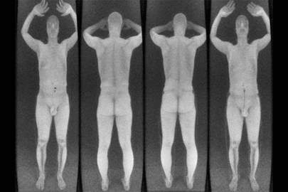 Rapiscan images showing a subject carrying no weapon (left) versus a .380 ACP pistol sewn to the side of his pants leg, (right) which is practically invisible in the scan