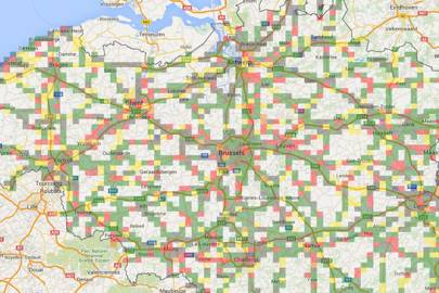 The Autobahn system has already been used to categorise all of Belgium's motorways. In this map green squares represent views of nature or woodlands, blue is water, red is sightseeing, yellow is fields, orange is mountains and black is non-scenic