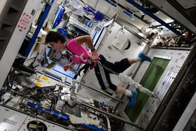ESA astronaut Samantha Cristoforetti exercising on the International Space Station