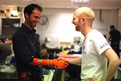 Joel Gibbard, right, and his Open Bionics prototype