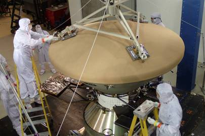 Specialists at Lockheed Martin put Nasa's InSight spacecraft through vibration testing to ready it for the rigours of launch