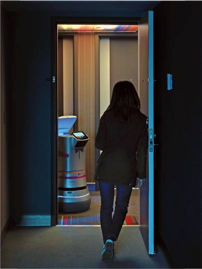 Savioke's Relay delivery robot can tell when a hotel door has been opened, but it cannot recognise the human; she is simply another plane