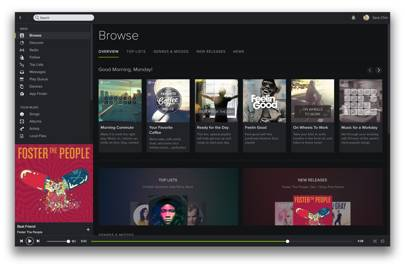 New Spotify desktop player