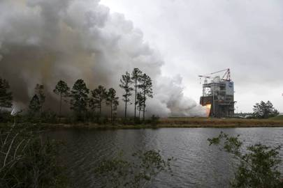 NASA engineers conduct a successfully test firing of RS-25 rocket engine No. 2059 on the A-1 Test Stand at Stennis. The hot fire marks the first test of an RS-25 flight engine for NASA's new Space Launch System vehicle.