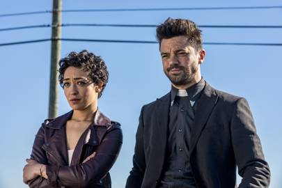 Jesse Custer (Dominic Cooper) and assassin ex-girlfriend Tulip (Ruth Negga) continue their hunt for an absent God in season two of Preacher
