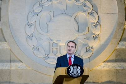 Robert Hannigan delivers a speech on November 17, 2015 in Cheltenham, England