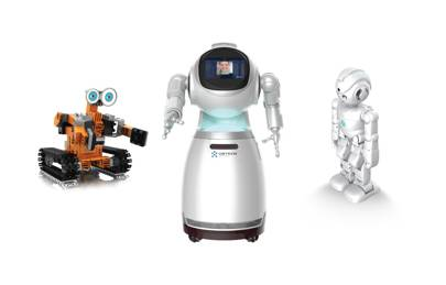 Ubtech's TankBot, Cruzr and Lynx robots are pictured
