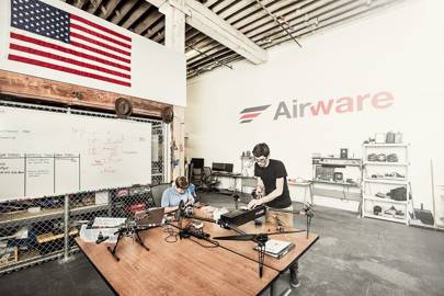 Airware engineers work on the Allied Drones EF44 UAV