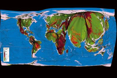 This map redraws the planet based on population concentration -- hence the bloated size of India and eastern China. Colours indicate the elevation; most of the world's population is concentrated close to sea level