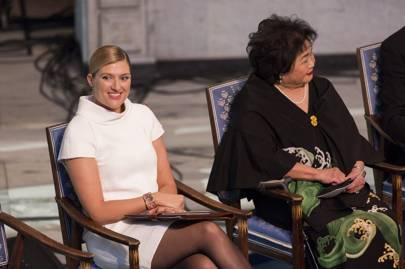 ICAN's Beatrice Fihn and Setsuko Thurlow attend the Nobel Peace Prize award ceremony