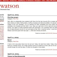 Tom Watson's website, 2005