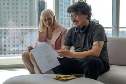 Okja director Bong Joon-ho talks to Tilda Swinton, who plays Nancy Mirando in the film