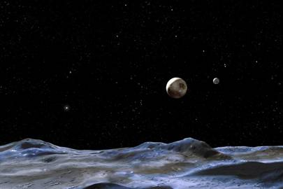 Artist's impression of Pluto and its moons