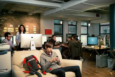 Karp at Tumblr HQ, an open-plan office, with exposed brickwork, over two floors of a Flatiron district building