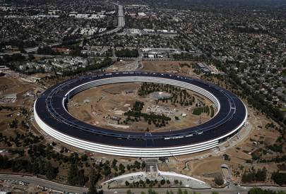 An aerial view of the new Apple headquarters on April 28, 2017. The 175-acre campus was designed by Foster + Partners