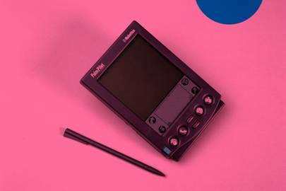The PalmPilot, pictured here in 1998, was controlled using a stylus