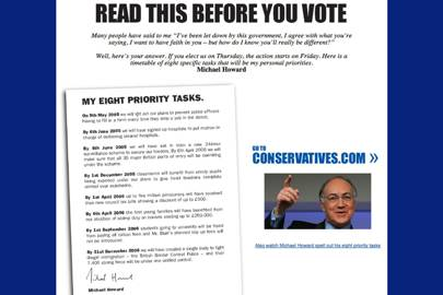 Conservative Party website, 2005
