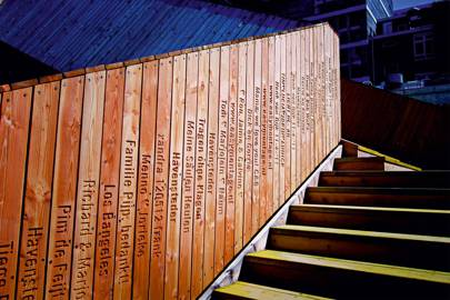 Some of the planks -- each sold for £31 -- that make up Rotterdam's footbridge, begun in 2012. Backers dedicate a plank or sponsors leave a message