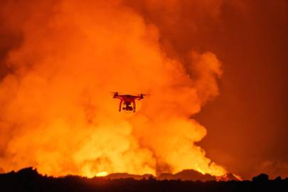 A DJI Phantom 2 quadcopter with GoPro camera flying near the eruption at Holuhraun lava field, near the Bardarbunga volcanic system in Iceland