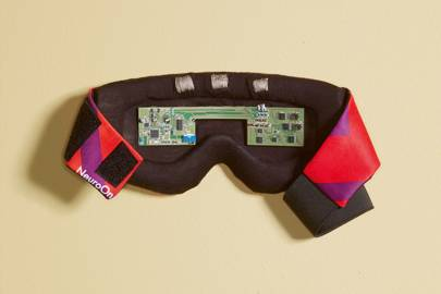 The wearer's sleep patterns are gathered from the sensors located inside the mask