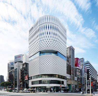 Origami-inspired architecture brings diamond lattices to Tokyo's shopping district