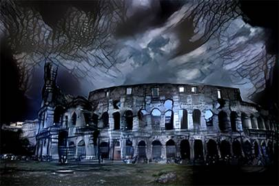 The Colosseum in Rome imagined as a haunted house