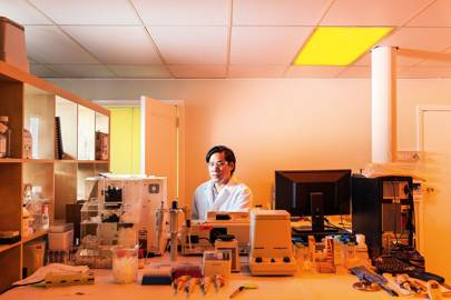 Eugene Chan at work in his subterranean office in Cambridge, Massachusetts