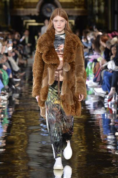 5a6bac25398 A model at the Stella McCartney A/W 2018 show in Paris, March 2018, wears  an organic fibre Fur-Free-Fur coat
