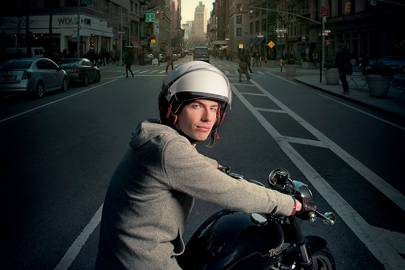 Tumblr founder David Karp used to ride a Vespa to the offcie, but has since upgraded to a Triumph Bonneville