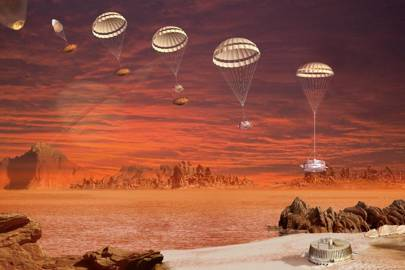Artist's impression of Huygens probe descent sequence