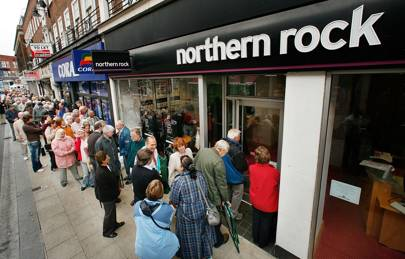 Northern Rock customers withdrew £1 billion in savings (about 5 per cent of the bank's total deposits) during one day in September 2007