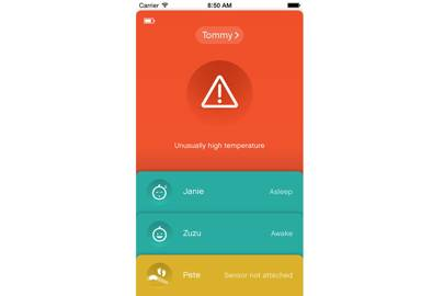 Sproutling's app will also track multiple children. Simple colour coding gives parents at-a-glance information on whether their kid is okay or not okay