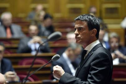 French Prime Minister Manuel Valls speaks during a debate on the state of emergency at the French Senate on November 20, 2015 in Paris, a week after the Paris attacks that killed 130 and injured over 350.