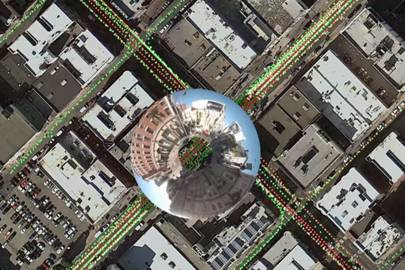 Inside Atlas, Google's map-editing program, operators can see where Street View cameras have captured images (coloured dots), and zoom in with a spyglass tool