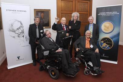 Garik Israelian, Stephen Hawking, Alexey Leonov, Brian May, Richard Dawkins and Harry Kroto are pictured