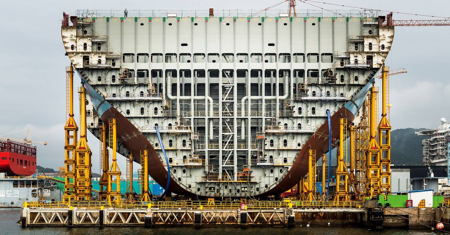 In pictures: building the world's largest container ship