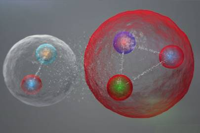 The five quarks could be assembled into a meson (one quark and one antiquark) and a baryon (three quarks), weakly bonded together